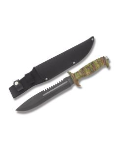 Frost Cutlery Jungle Fever IV with Camo ABS Plastic Handle and Black Coated Stainless Steel Blade Model 18-431CA
