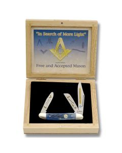 """Frost Cutlery """"In Search of More Light"""" Limited Edition Masonic Stockman 4"""" with Masonic Motif Handle and Stainless Steel Plain Edge Blades Model SET-797MAS"""