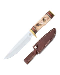 Frost Cutlery Chipaway Cutlery Red Plains Chief Stainless Steel Blade Carved Bone Handle
