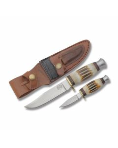 Frost Cutlery Chipaway Cutlery Classics Hunter's Combo with Torched Second Cut Bone Handles and Stainless Steel Clip Point Plain Edge Blades Model CW-988SC/TB