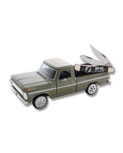 """Frost Cutlery Vietnam Vet Truck and Mini Trapper 3.50"""" Set with Horn Handles and Stainless Steel Plain Edge Blades"""