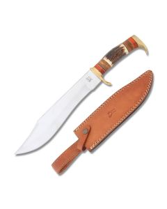 Frost Cutlery Trophy Stag Recurve Hunting Knife with Stag Handle and Stainless Steel Blade Model TS-187