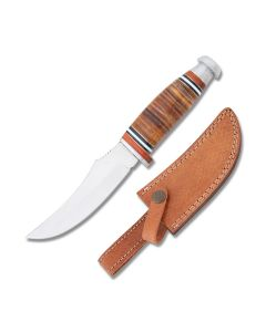 Frost Cutlery Trophy Stag Skinner with Stacked Leather Handle and Stainless Steel Blade Model TS-203LTHR