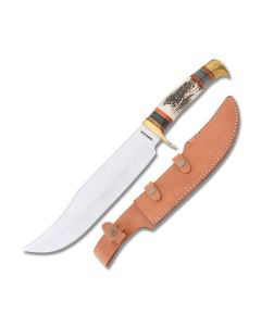 Frost Cutlery Trophy Stag Bowie with Stag Handle and Stainless Steel Blade Model TS-975