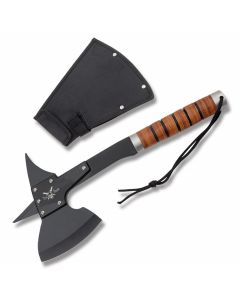 Frost Cutlery Tac-Xtreme Battle Axe I with Stacked Leather Handles and Black Coated Stainless Steel Blades Model TX-009