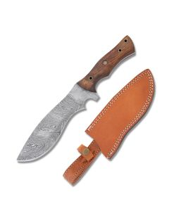 """Frost Cutlery Valley Forge Cutlery Tracker 12"""" with Walnut Handle and Damascus Steel Blade Model VFD-25WW"""