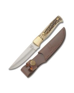 "Frost Cutlery Whitetail Cutlery Medium Hunter 8.125"" with Stag Handle and Full Tang Drop Point Stainless Steel Blade Model WT-057"