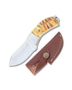 "Frost Cutlery Whitetail Cutlery Stubby Skinner 5.875"" with Chicksaw Bone Handle and Full Tang Stainless Steel Blade Model WT-946"