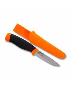 "MORAKNIV Companion Heavy Duty with Orange Rubberized Handle and Carbon Steel 4"" Clip Point Plain Edge Blades with Orange Molded Plastic Sheath Model M12211"
