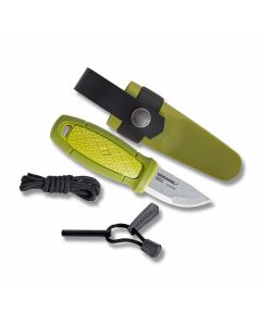 "Morakniv Eldris Neck Knife Fixed Blade with Green Polymer Handles and Sandvik 12C27 Stainless Steel 2.375"" Clip Point Plain Edge Blade Model 12633"