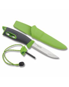 """Mora Light My Fire Swedish FireKnife with Green Thermoplastic Handle and Sandvik Stainless Steel 3.812"""" Drop Point Plain Edge Blade Model S-FK-GREEN"""