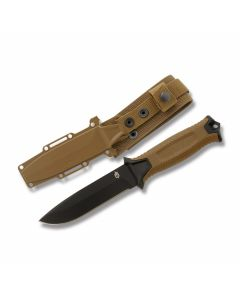 "Gerber StrongArm Fixed Blade with Coyote Brown Rubber Over-molded Glass Filled Nylon Handles and Black Coated 420 HC Stainless Steel 5"" Drop Point Plain Edge Blade Model 30-001058"