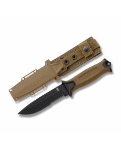 "Gerber StrongArm Fixed Blade with Coyote Brown Rubber Overmolded Glass Filled Nylon Handles and Black Coated 420 HC Stainless Steel 5"" Drop Point Partly Serrated Edge Blade Model 30-001059"