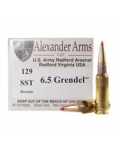Alexander Arms 6.5 Grendel 129 Grain Hornady SST 20 Rounds