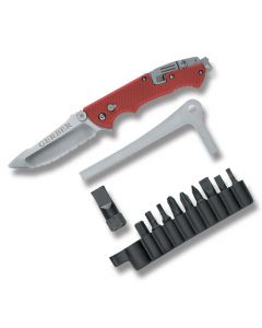 Gerber Hinderer Rescue 7Cr17MoV Stainless Steel Blade Red FRN Handle