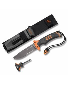 """Gerber Bear Grylls Survival Series Ultimate Survival Knife with Textured Rubber Handle and High Carbon Stainless Steel 4.688"""" Drop Point Partially Serrated Blade and Nylon Sheath Model 31-000751"""