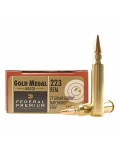 Federal Premium Gold Medal 223 Remington Sierra Match King 77 Grain Boat Tail Hollow Point 20 Rounds