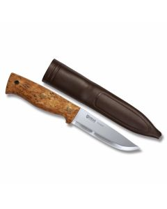 "Helle Temagami CA with Curly Birch Handles and Triple Laminated Carbon Steel 4.375""  Drop Point Plain Blade Model 301"
