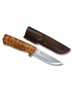 "Helle Eggen with Cury Birch Handles and Triple Laminated Stainless Steel 4.125"" Drop Point Plain Edge Blade Model 75"