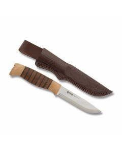 "Helle Sigmund with Stacked Beech and Darkened Oak Wood Handles and Triple Laminated Stainless Steel 4.313"" Drop Point Plain Edge Blade Model 77"