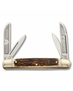 """Hen and Rooster Tobacco Congress 3.625"""" with Stag Handles and Hand Forges Stainless Steel Plain Edge Blades Model HR214DS/TC"""