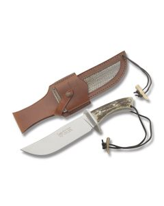 """Hen and Rooster Bowie with Stag Handle and Mirror Polished Stainless Steel 7.50"""" Bowie Plain Edge Blade and Leather Belt Sheath Model HRDS-0001DS4"""