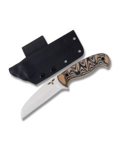 "GTI Custom 9.25"" Sheepsfoot Fixed Blade Knife with Tan and black G-10 Handle and Satin Finish 154CM Stainless Steel 4.50"" Sheepsfoot Plain Edge Blade Model SHEEPSFOOT"