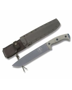 "ESEE Knives Junglas with Tan Micarta Handles and Gunsmoke Epoxy Powder Coated 1095 Carbon Steel 9.75"" Drop Point Plain Blade with Black Kydex Sheath with MOLLE Attachment Model JUNGLAS-TG"