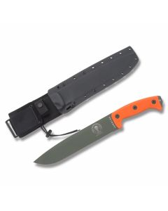 "ESEE Knives Junglas Machete with Orange Micarta Handles and OD Green Epoxy Coated 1095 Carbon Steel 10.375"" Drop Point Plain Blade and Black Kydex MOLLE Sheath Model ESJUNGLASODOR"