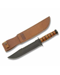 KA-BAR Big Brother Bowie 1095 Carbon Steel Bowie Blade Stack Leather Handle