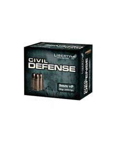 Liberty Civil Defense 9mm Luger +P 50 Grain Fragmenting Hollow Point Lead Free 20 Rounds