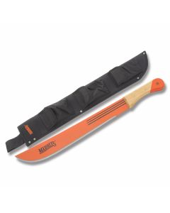 """Marbles Large Workhorse Jungle Machete with Wooden Handles and Fire Hardened Orange Coated Carbon Steel 17.675"""" Plain Edge Blade Model MA12718"""