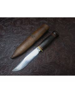1920s Antique Marbles Gladstone Mich. Expert Knife Stacked Leather Handles Carbon Steel
