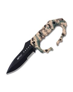"Master Cutlery MTech USA Fixed Blade Knife with Military Camo Coated Aluminum Handle and Black Coated Stainless Steel 4.8"" Drop Point Partially Serrated Edge Blade Model MT-20-51CD"