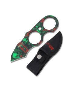 Master Cutlery MTech USA Finger Ring Fixed Blade with Green Skull Camo Coated Stainless Steel Construction with Black Nylon Sheath Model MT-2056GN