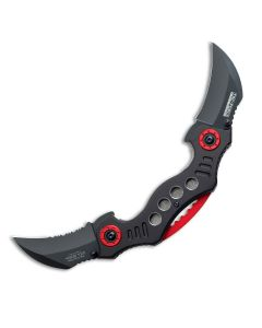 Tac-Force Tactical Twin Blade Spring Assisted Karambit with Black Aluminum Handle and Black Stainless Steel Hawkbill Blades Model TF-669BK