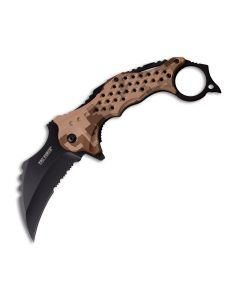 Master Cutlery Tac-Force Spring Assisted Karambit with Desert Camo ABS Handle and Black 3Cr13MoV Stainless Steel Partially Serrated Hawkbill Blade Model TF-945DG