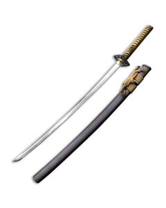 """Master Cutlery Ten Ryu TR-029 Hand Forged Samurai Sword with Gold Cord Wrap Over Imitation Ray Skin Wrap Handle and Polished Finish Carbon Steel 28"""" Blade Model TR-029GR"""