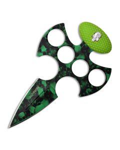 Z Hunter Skull Push Dagger with Green Nylon Fiber Handle and Green Skull Camo Stainless Steel Blade Model ZB-043GN