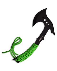 Z Hunter Axe with Green Cord Wrapped Handle and Black Stainless Steel Blade Model ZB-AXE7
