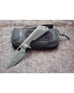"""Microtech Marfione Strider custom MSG-3.5 with Fallout Finish 6AL4v Titanium Handles with Bholer's M-390 Fallout Finish 3.50"""" Spear Point Plain Edge blade Model MSG-3.5"""