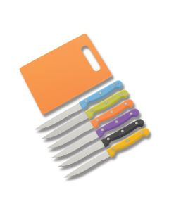 "Multicolor Steak and Utility Knife Set with Synthetic Handles and 4.375"" Stainless steel blades and Bonus Orange Composition Cutting Board"