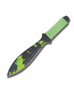 """Zombie Nick Quick or Dead Throwing Knife with Cord Wrapped Handles and Black Coated Stainless Steel 4.375"""" Spear Point Plain Edge Blades"""