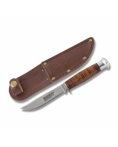 Marble's Hunter with Stacked Leather Handles and Mirror Polished 440A Stainless Steel Skinning Plain Edge Blade