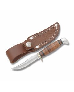"Marbles Small Skinner with Stacked Leather Handles and 440A Stainless Steel 3.063"" Clip Point Plain Edge Blade Model MR396"