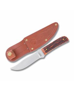 "Marble's Outdoor Skinner with Red Marbles Bone Handles and 440A Stainless Steel 4"" Skinner Plain Edge Blade"
