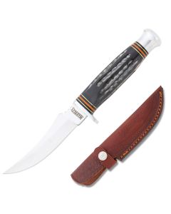 Marbles Small Skinner 440A Stainless Steel Blade Jigged Buffalo Horn Handle