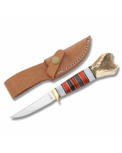 "Marbles Mini Skinner with Stacked Wood and Split Stag Handles with 440A Stainless Steel 3.375"" Skinning Plain Edge Blade Model MR816"