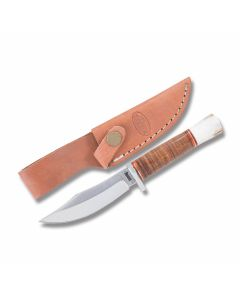"Marbles Skinner with Stacked Leather Handles and 440A Stainless Steel 3.50"" Clip Point Plain Edge Blade"