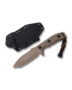 "Microtech Currahee Fixed Blade Knife with Desert Tan Polymer Handle and Desert Tan Coated Elmax Steel 4.5"" Tanto Tip Blade Model 103-1TA"